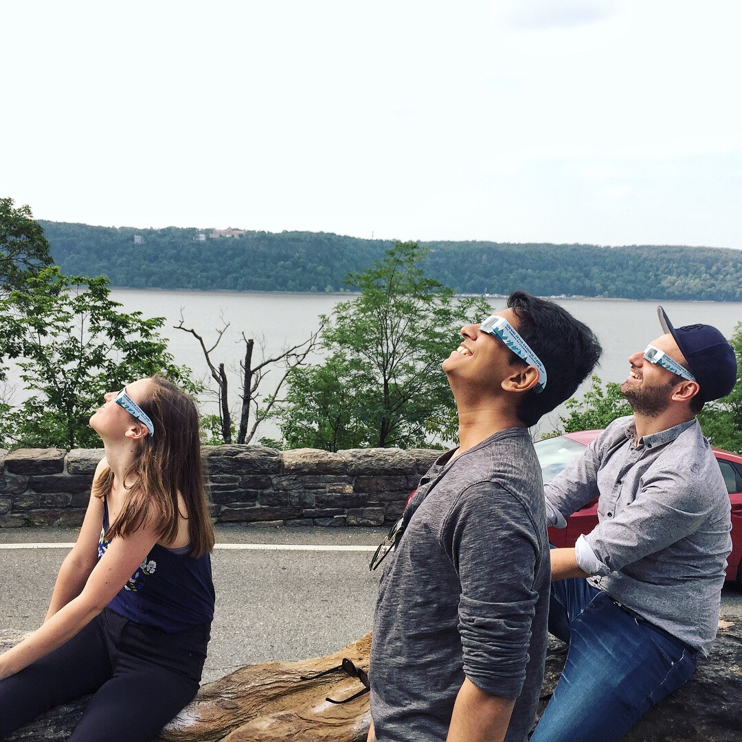 Viewing the total solar eclipse, Fort Tryon Park, August 2017